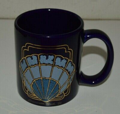 Nice Vintage Clearwater Beach Florida SHELL Navy Blue Ceramic Coffee Mug - Mugs Clearwater
