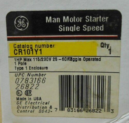 1 NIB GE GENERAL ELECTRIC CR101Y1 MAN MOTOR STARTER SINGLE SPEED 1HP 1P 230V