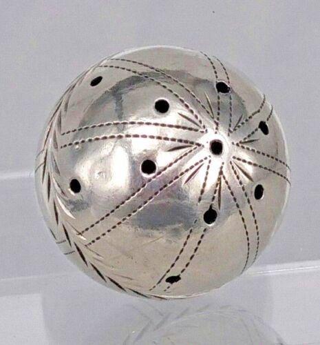 RE Eighteenth century silver ball vinaigrette hand engraved design.