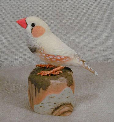 Zebra Finch Original Bird Wood Carving