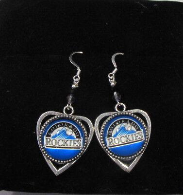Colorado Heart - Handcrafted Baseball Colorado Rockies  Heart Earrings