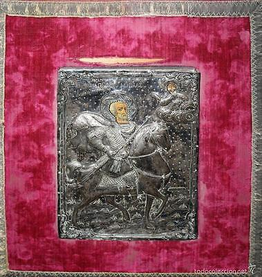 Santo Mines  Greek Icon    Painted On Table  Silver Riza  Xviii Xix Century