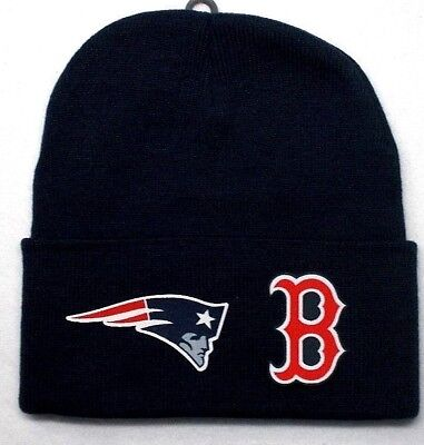 READ ALL!Boston Red Sox/Patriots Heat Applied Flat Logos on Beanie Knit Cap hat
