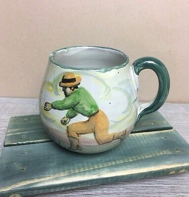 Vintage FCA Peru Pottery Large Coffee Soup Mug Cup Hand Painted Boat W/Phrases