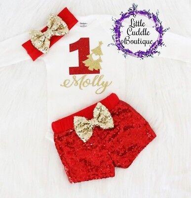 Personalized Christmas Birthday Girl Shorts Outfit, Winter 1st Birthday Outfit](Winter First Birthday)