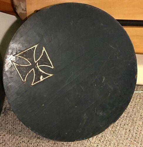 "Vintage Skim Board Round Surfers Cross Black Wood 24"" Wide"