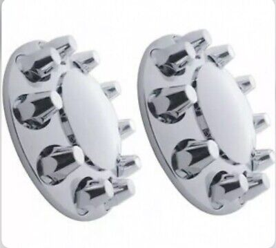 Chrome Front Axle Wheel Cover with Hub Cap 33mm Lug Nuts for Semi Truck Set of 2