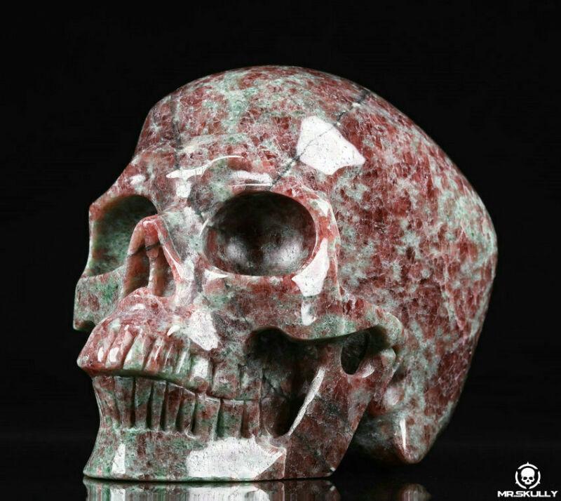 "Huge 5.0"" Garnet Carved Crystal Skull, Realistic, Crystal Healing"
