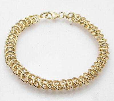 Bellezza Multi Circle Rolo Link Bracelet Lobster Clasp Solid Yellow Bronze - Multi Circle Bracelet