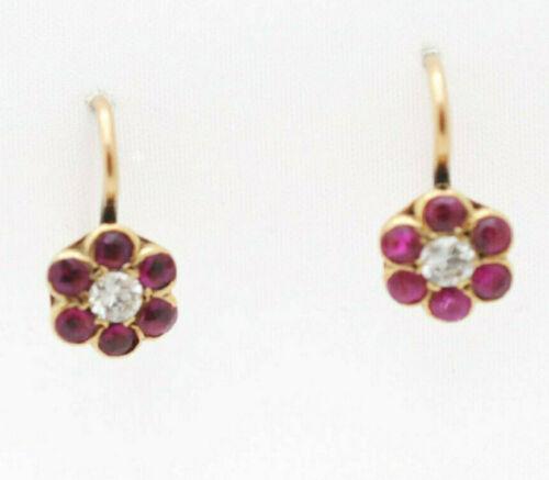 Victorian Real Diamond Burma Rubies 14k Floral Cluster Dangle Pierced Earrings