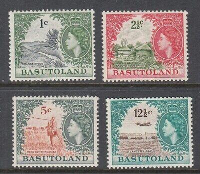 1964 Basutoland Queen Elizabeth II, Local Motifs 4 mint stamps