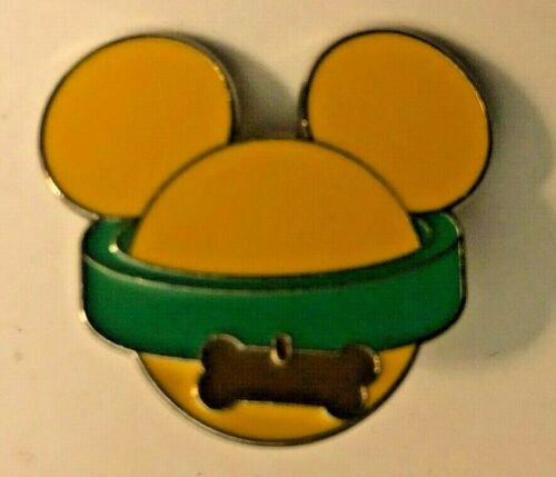 DISNEY TRADING PIN - MICKEY MOUSE HEAD SHAPED THEMED LIKE PLUTO WITH COLLAR