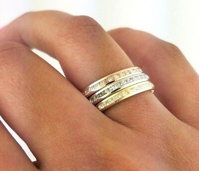 14k Eternity Band Solid Yellow Gold White Gold Rose Gold Diamond Stackable Ring  14k Yellow Gold Wedding Ring