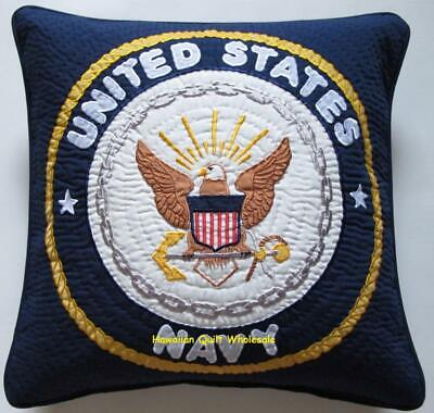 U.S. NAVY PILLOW COVER CUSHION hand quilted/machine embroidered