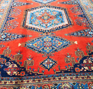 Semi-Antique Persian Carpet,10.4 x 7.3 ft,Wool,Handknotted