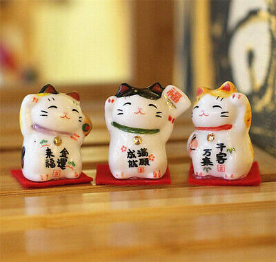 Set of 3 Japanese Ceramics Maneki Neko Lucky Cat Figurines Waving Fortune Decor