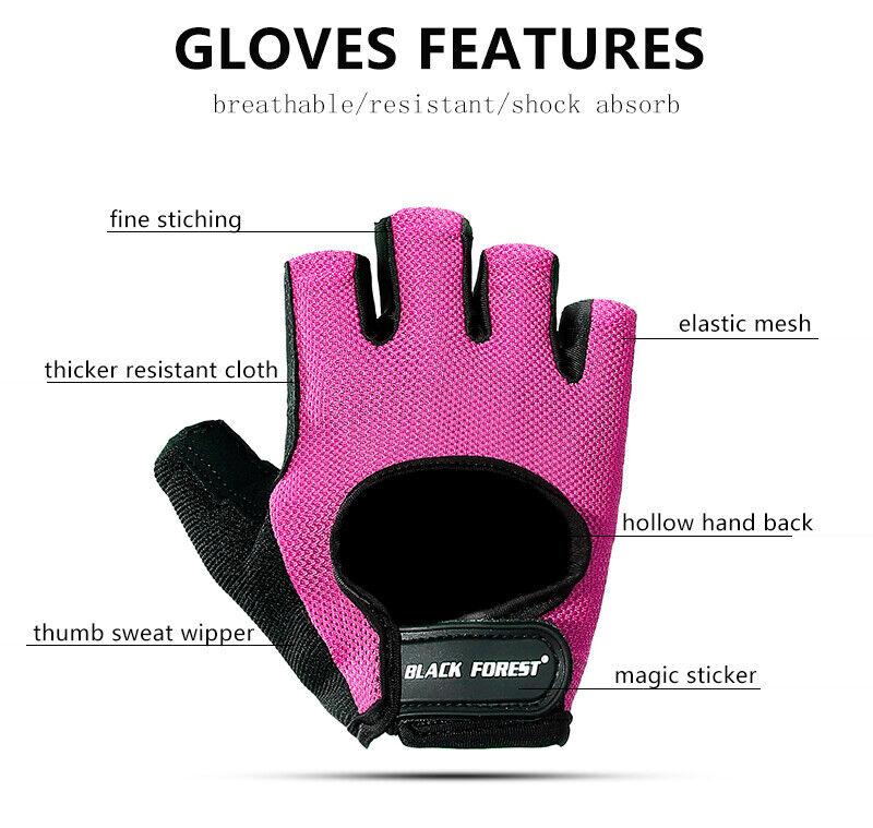 Half Finger Workout Gloves Sport Weight Lifting Exercise Fitness Women Men Gym Fitness, Running & Yoga