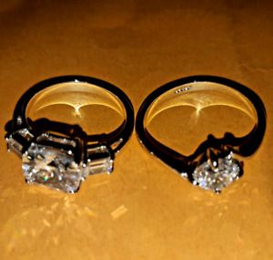 18K White Gold Plated Brilliant Crystal Rings - Size 6/M - $10