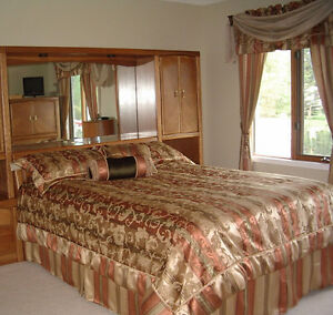 Bedding set with matching window coverings