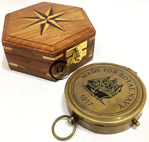 Brass Hand-made Navigation Pocket Compass With Box Wood-Made For Royal Navy 1917