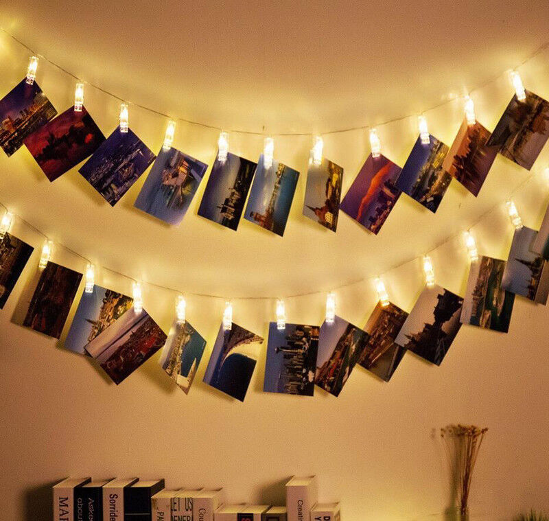 Details About New Led Photo Clip String Lights Battery Operated For Bedroom Hanging Cards
