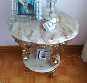 PAIR Side Occasional Table  faux marble top mint condition