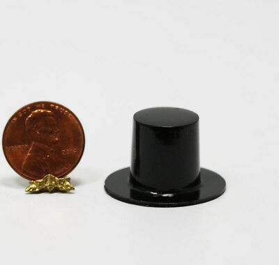 Dollhouse Miniature Black Plastic Top Hat Plastic Miniature Hats