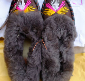 Leather Slippers Women, Sheepskin Moccasins womens, 100% Wool sl