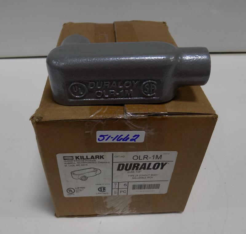 "KILLARK 1/2"" TYPE LR CONDUIT BODY QTY 5 NIB"