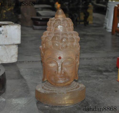 """16""""Rare old Tibet natural crystal carved Shakyamuni Sakyamuni Buddha head statue"""