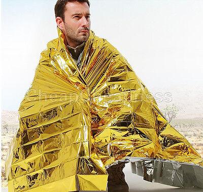 Gold Emergency Solar Survival Blanket Safety Insulating Mylar Thermal Heat