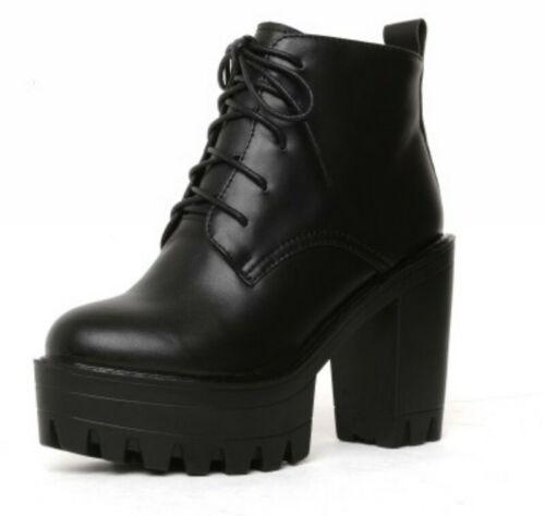 Details about  /Ladies Block High Heel Lace Up Round Toe Platform Combat Motor Punk Ankle Boots