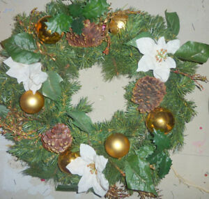 Christmas wreath with golden ornaments