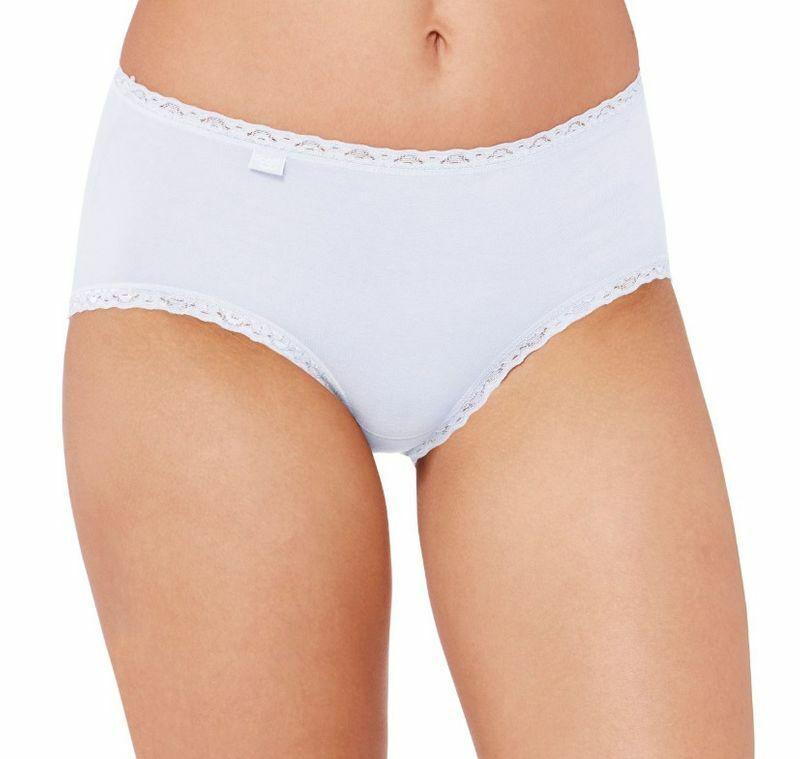 Sloggi 24/7 Cotton Lace Midi Damen Slips 3er Pack aus natürlicher Baumwolle
