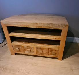 Corner TV unit, Mango wood