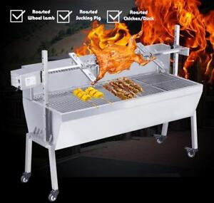 "46"" Stainless Steel BBQ Pig Lamb Goat Chicken Spit Roaster 251118"