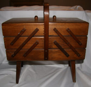 Vintage Accordion Sewing Box