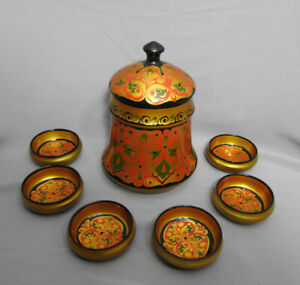 VINTAGE 1983 WOODEN RUSSIAN LACQUER HAND PAINTED HONEY BARREL