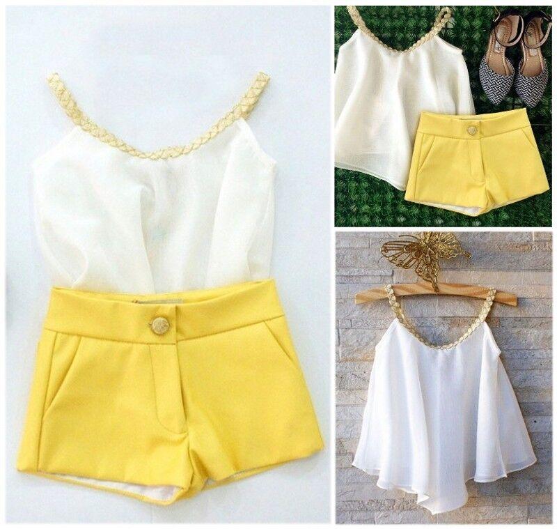 US Stock Toddler Kids Girls Chiffon Strappy Tops Shorts Summ
