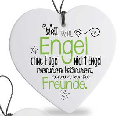 Herz mit Spruch Freunde Engel Porzellan Anhänger