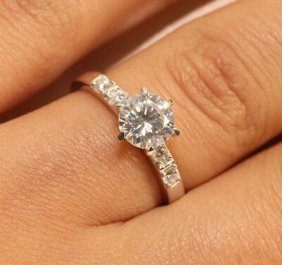 1 CT ROUND CUT DIAMOND ELEGANT ENGAGEMENT RING 18K WHITE GOLD FINISH SIZE 6