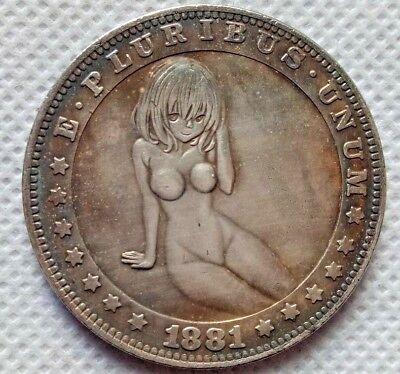 Hobo Nickel Coin 1881-CC Morgan Dollar Cute Girl COIN