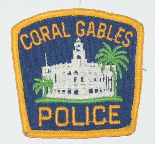 Old CORAL GABLES POLICE Florida City Hall FL Fla PD Vintage Used Worn patch