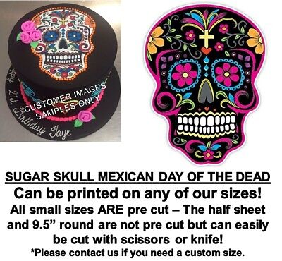 Mexican Black Sugar Skull Edible Cake Topper Image Cupcakes Day of the Dead Cake](Day Of The Dead Cupcakes)
