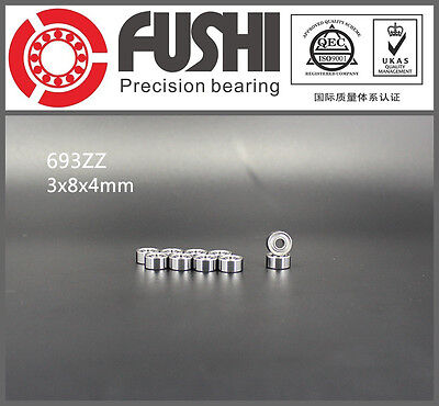 693zz Bearing 3x8x4 Mm Abec-7 10pcs Miniature 693 Z Zz Ball Bearings 693-2z