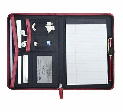 Padfolio Leather Business Portfolio Zippered Notebook Binder Organizer Office