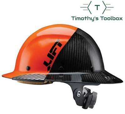Lift Safety Hdf-50c19oc Dax 5050 Carbon Fiber Full Brim Hard Hat Orange-black