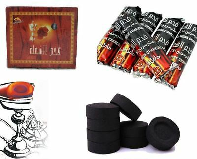 SHISHA HOOKAH 100 CHARCOAL TABLETS COAL DISCS FOR SMOKING PIPE FLAME LIGHT for sale  Surbiton