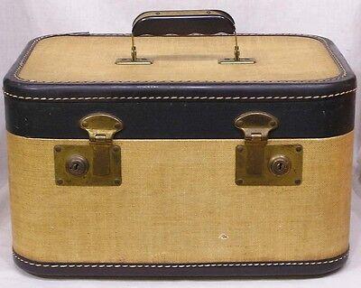 Vintage Train Case Tan Dark Brown 1930s Stitched Leatherette Trim