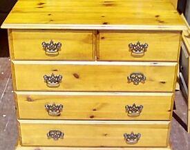 pine 5 draw chest